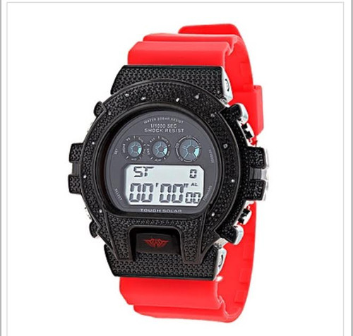 Unique Gshock Style Watches: This Ice Plus Diamond Watch by Joe Rodeo design features 0.12 carats of genuine diamonds around the bezel, a Black stainless steel case, a glossy red rubber band and a digital dial code. Water-resistant to 200m. A trendy Ice Plus Watch is a stylish addition to any wrist.