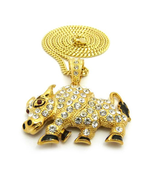 """Travis Scott Rapper- Gold Bull Iced Out Pendant w/FREE 36"""" Chain"""