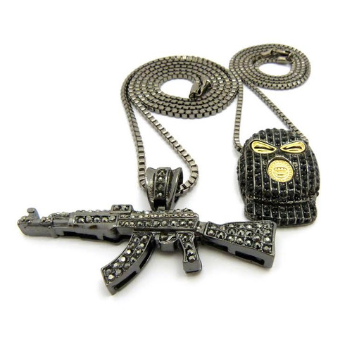 Plies Black Goon w/AK47 Machine gun Pendant (2 Pendant Set)