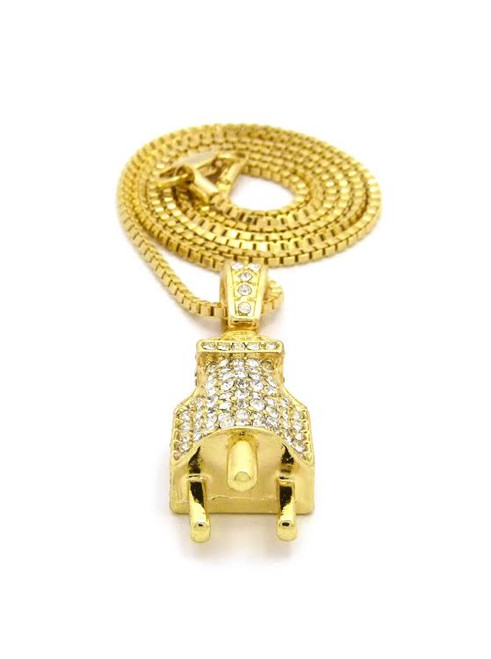 Exceptional 14K Gold Iced Out Hip Hop Plug Pendant