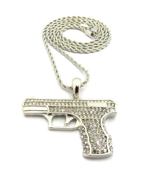 "Silver Handgun Pendant w/FREE 36""Chain-Limited"