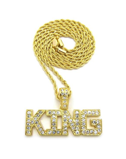 "14K King Ice-Fully Iced Out Pendant w/FREE 36""Gold Rope Chain"