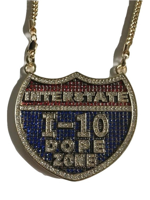 """I-10 Dope Zone Gold Blue Red Fully Iced Badge Pendant w/FREE 36"""" Chain"""