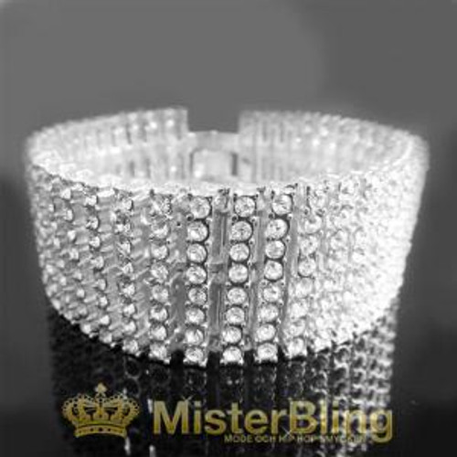 Iced out ladies 8 row platinum diamond collection