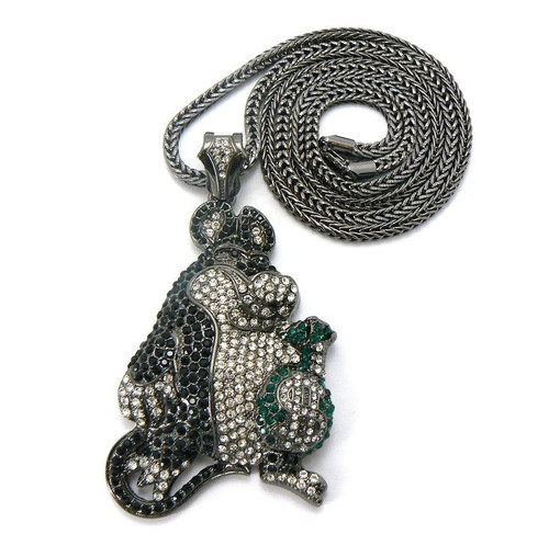 "ICED OUT BAD RAT PENDANT & 36"" FRANCO CHAIN."