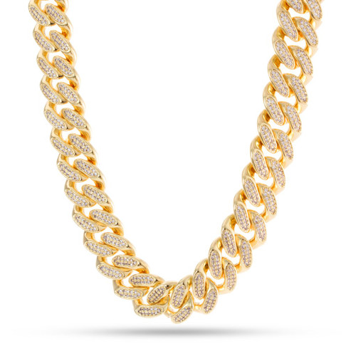 The evolution of the CZ Miami Cuban curb chains continues, spawning this newest CZ choker. Each 15mm link chain provides that big, chunky feeling onto this solid choker chain. Meanwhile, each chain uses AAA, handset stones alongside this 14K gold plated piece.