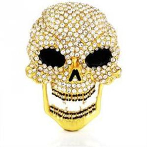 Iced out skull belt buckle 14k gold plated