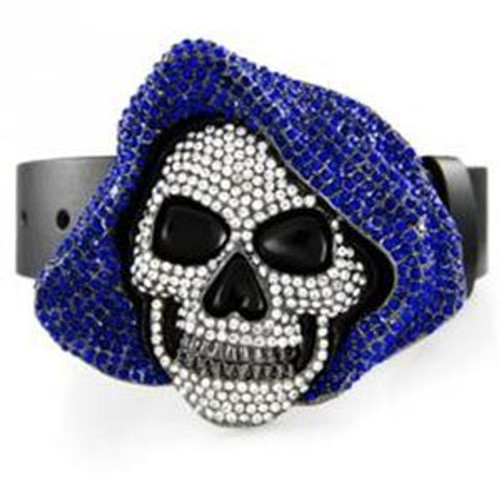 *Hoodie skull belt buckle with clear and blue stones.