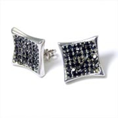 925 Sterling Silver BLACK Iced out Micropave Earrings