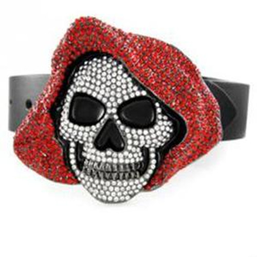 Hoodie Skull belt buckle with clear and RED  Stones.