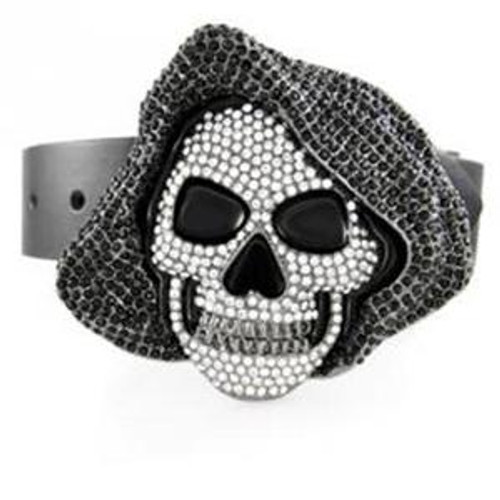 Hoodie Skull Belt Buckle with clear and BLACK Stones.