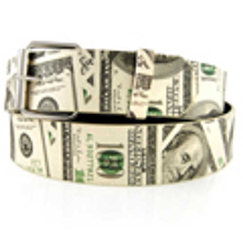 Hundred Dollar Bill Leather Belt $$