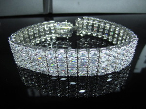 """Sterling Silver Bracelet- 5 Fully Iced Rows-Heavy"