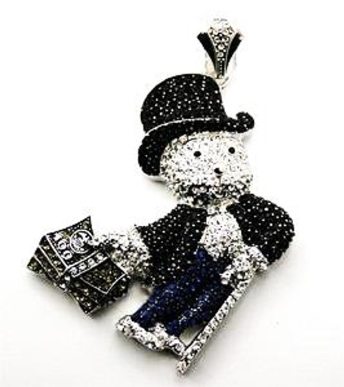 """Monopoly man pendant  BLACK AND SILVER WITH BLUE PANTS  w/FREE 36"" Chain"