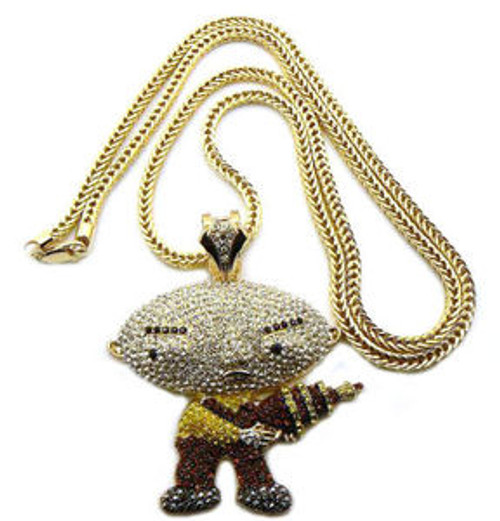 """ICED OUT STEWIE PENDANT & FRANCO CHAIN W/GUN"