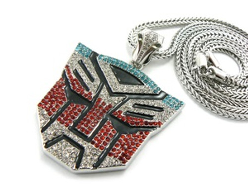 """Iced Out Silver Tone Blue and Red Transformers pendant w/FREE 36"" Chain"