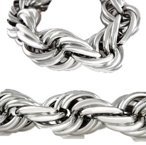 "25MM X 36""  HIP HOP  Silver Rope Chain..Sale"