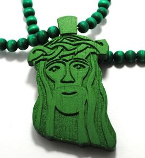 """Good Wood Wooden Jesus piece / 30"" Beaded Chain NYC GREEN"