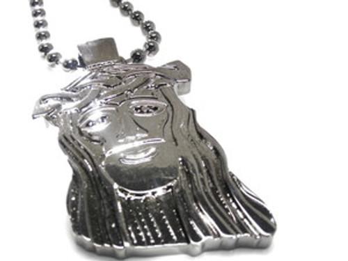 """""""Jesus Pendant Rhodium/Silver w/FREE 36"""" Chain"""
