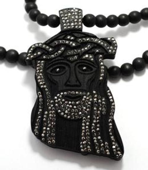 """""""Good Wood Iced  Out Black wood Jesus pendant"""