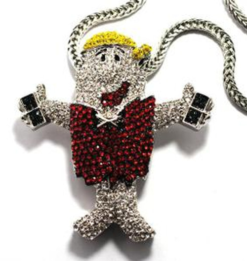 """BARNEY All Iced Out Bling Stone Pendant and chain COMBO"