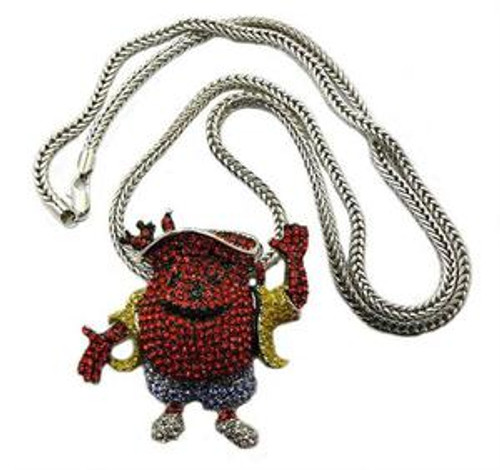 """Kool Aid Man Iced Out Pendant W/ FREE 36"" franco chain"