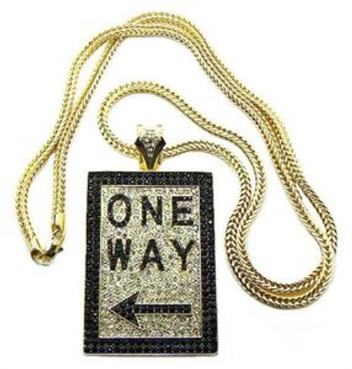 """ONE WAY Iced Out Pendant  FREE 36"" Gold chain"