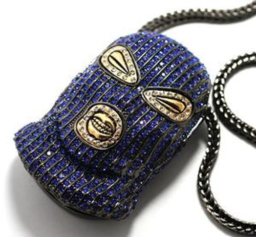 """PLIES-BLUE  3"" x 2"" GOON pendant ICED OUT w/FREE Chain"