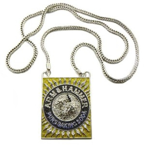 """Iced Out Arm & Hammer Gold BOX Pendant w/FREE 36"" Chain"