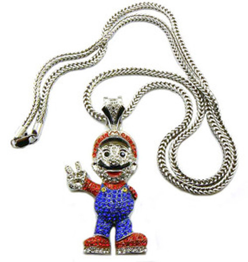 """Mario All Iced Out Pendant and chain combo"