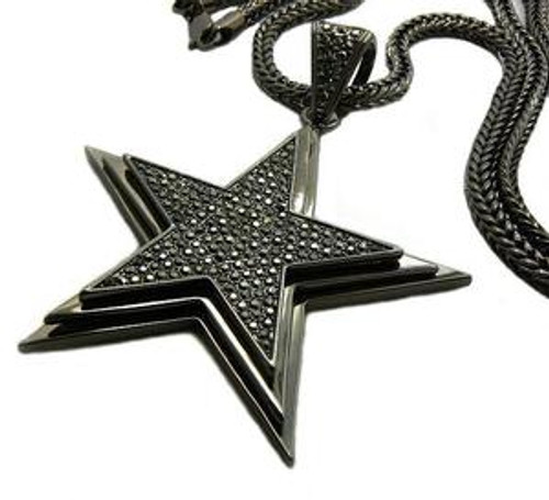 "Black Star FULLY ICED OUT in 3D w/ FREE 36"" Franco chain"