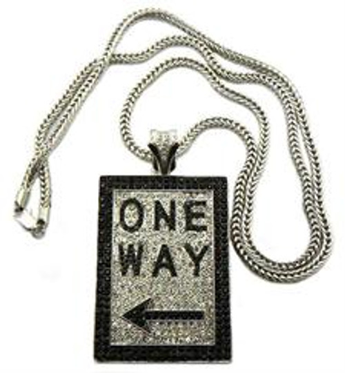 """ONE WAY Iced Out Pendant Silver"
