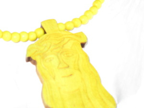 """GOOD WOOD Jesus piece Yellow FREE 36"" Bead chain"