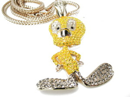 """1-YELLOW TWEETY CUSTOM DIAMOND CZ  w/FREE 36"" GOLD Franco Chain"