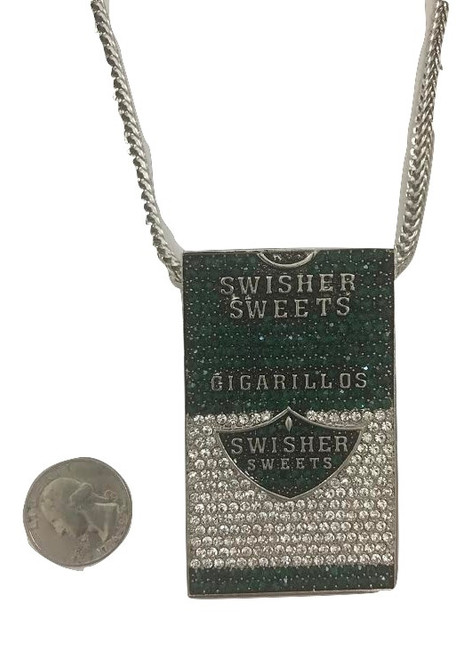 """Swisher Sweet piece GREEN  Pendant w/ FREE 36"" Franco Chain"