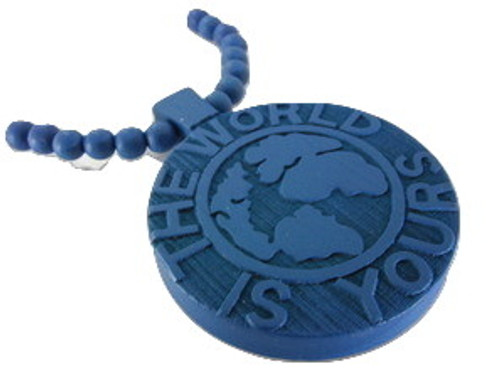 The World is Yours Soulja Boy Blue Wood Pendant w/chain