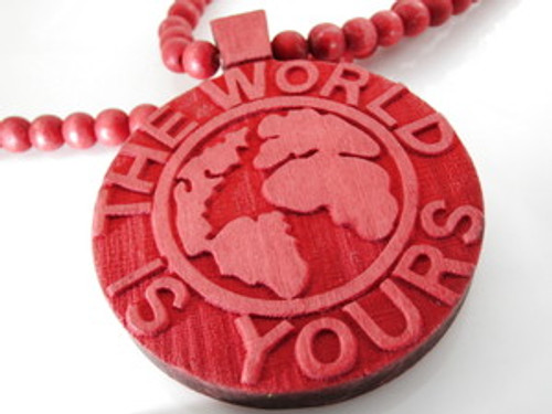 """The World Is Yours..RED Wooden Soulja Boy Pendant!"