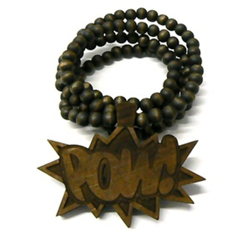 """Good Wooden BROWN ""POW "" Pendant w/36"" beaded chain"