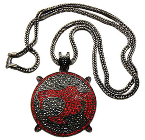 """Black & Red Genuine Diamond Cz Stone Thundercats Iced Out Pendant"