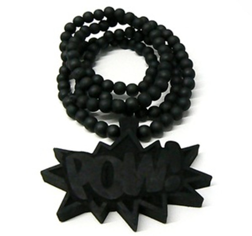 """Good Wooden Black ""POW"" Pendant w/36"" beaded chain"