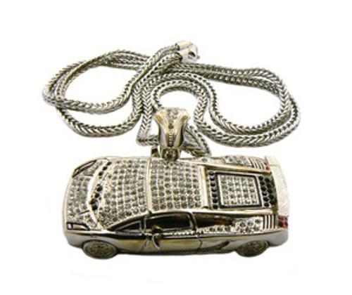 """Soulja Boy Fully Iced Out Silver Lamborghini pendant w /FREE 36"" Chain"