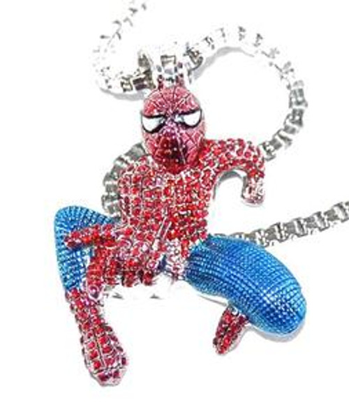 "Spiderman Red and Blue Pendant w/ FREE 36"" Chain"