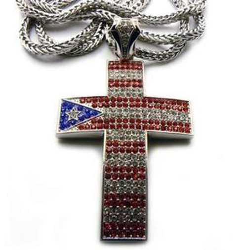 """Puerto Rico Iced Out Bling Cross w/ FREE 36"" Chain"