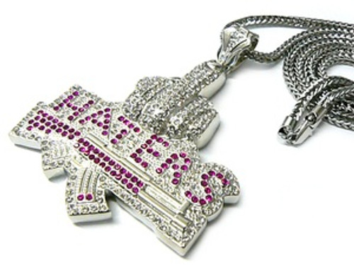 """Haters-Fully Iced Out Pendant w/pink cz stones FREE 36"" Chain"