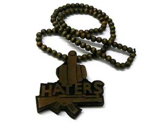 """Brown Good Wood Haters pendant w/FREE Beaded chain"