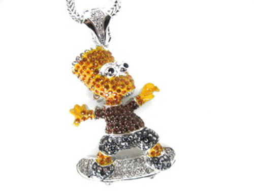 """USA BART-SKATEBOARDER NEW YELLOW BROWN BLACK / SILVER Iced Pendant"