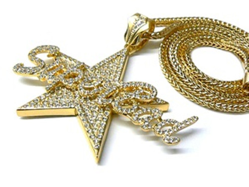 """Superbad-LIL BOOSIE GOLD Fully Iced Out Star Pendant w/ FREE 36"" chain"