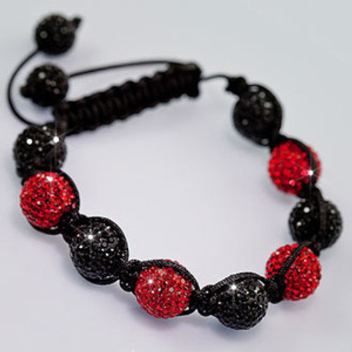 """NEW SHAMBHALA RED& BLACK DIAMOND BEAD 12MM JAY Z KAYNE BRACELET MACRAME"