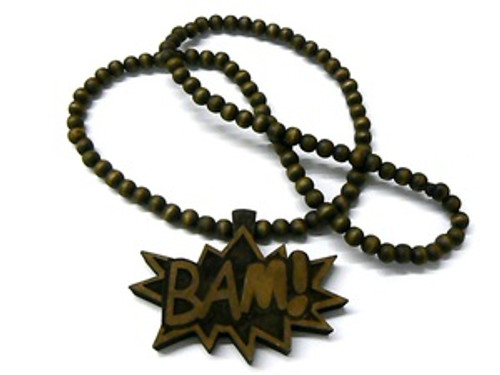 """BAM"" BROWN Wood Pendant with FREE 36""Beaded chain"