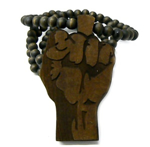 """Power Fist BROWN Natural Wooden Pendant w/FREE 36"" Beaded Chain"